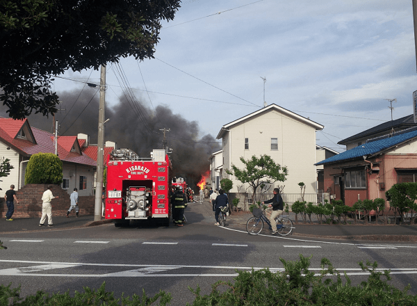 木更津市江川で火事の現場の画像
