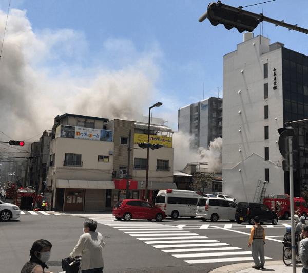 大阪市中央区谷町6丁目で火事の現場の画像
