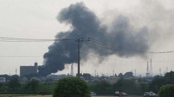 前橋市野中町で火事の現場の画像