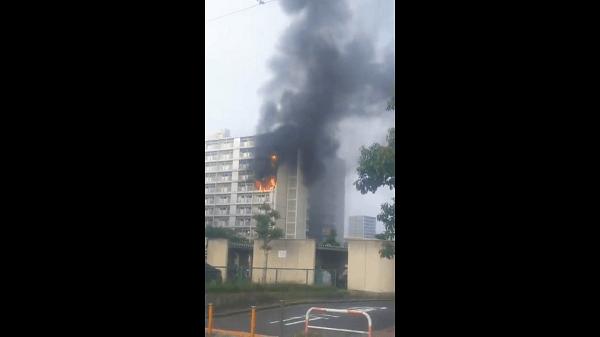 名古屋市北区山田の大曽根駅やイオン付近で発生している火事現場の写真画像