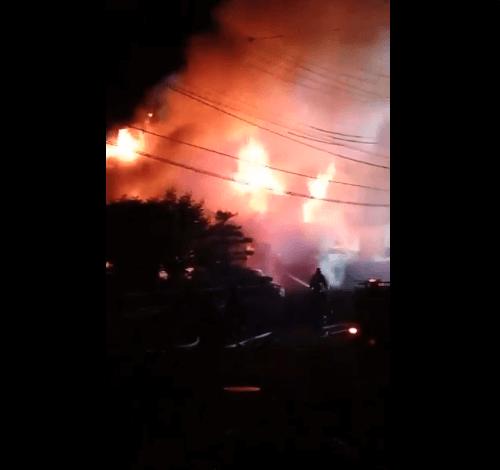 新発田市五十公野で火事の現場の画像