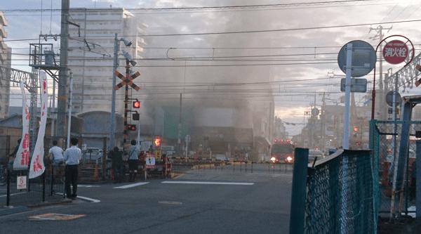 和歌山駅付近で沿線火災のTwitter画像