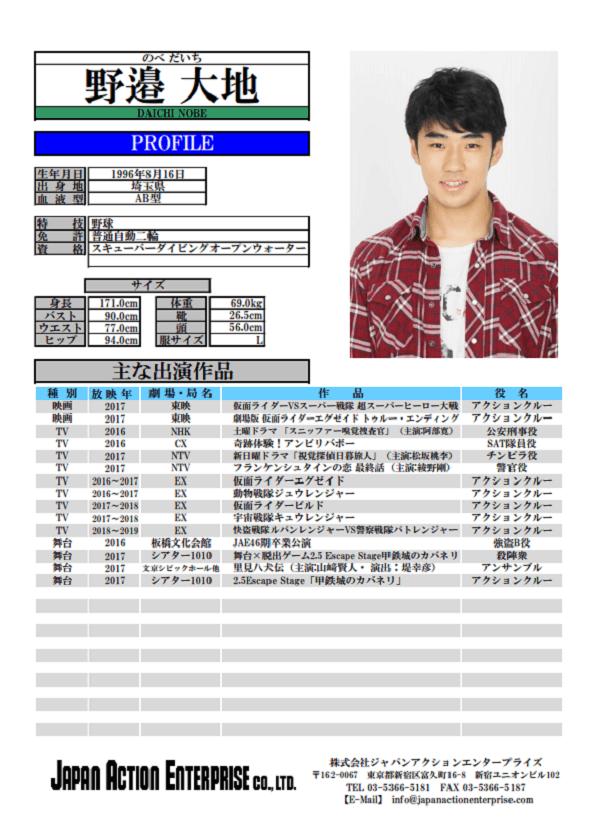 「仮面ライダービルド」出演俳優・野邉大地さんのプロフィール画像