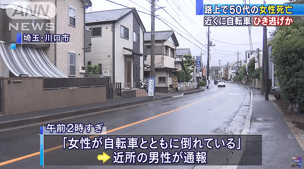 埼玉県川口市でひき逃げ事件のニュースのキャプチャ画像