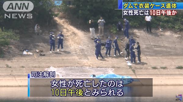 小西優香さんの遺体が遺棄された死体遺棄事件のニュースのキャプチャ画像