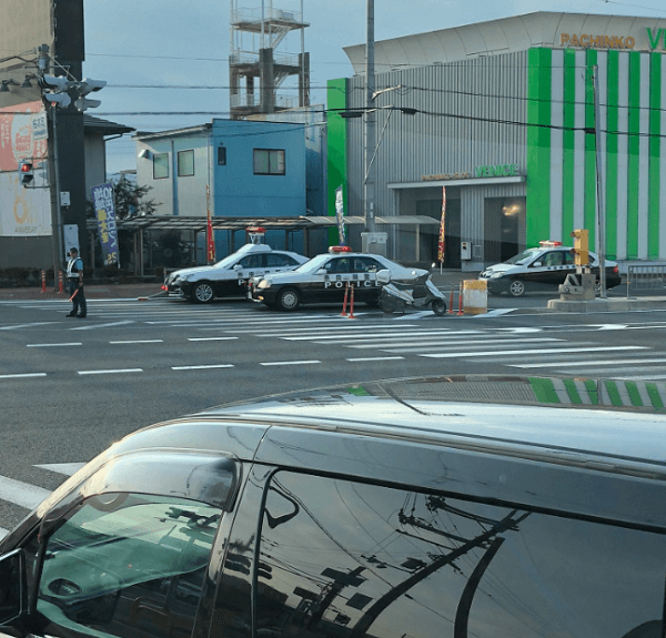 奈良市八条で暴走族の転倒事故現場付近の画像