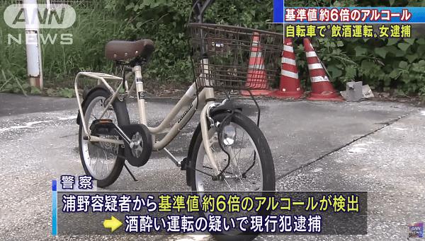 田川市で自転車飲酒運転を現行犯逮捕のニュースのキャプチャ画像
