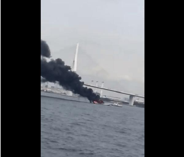 大黒ふ頭の鶴見つばさ橋付近で火事の画像