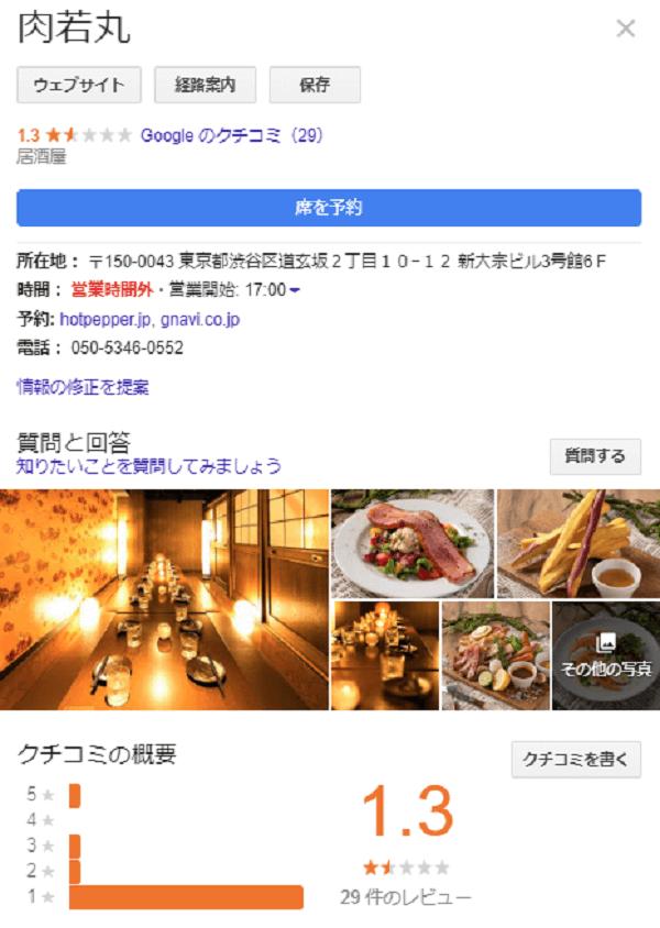 肉若丸のGoogleの口コミ評価のキャプチャ画像