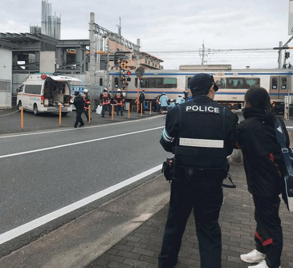 西鉄天神大牟田線の白木原駅付近の踏切で人身事故の現場画像