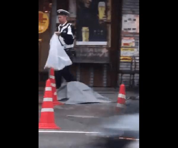 十三淀川通りで12歳女児の死亡事故の現場画像