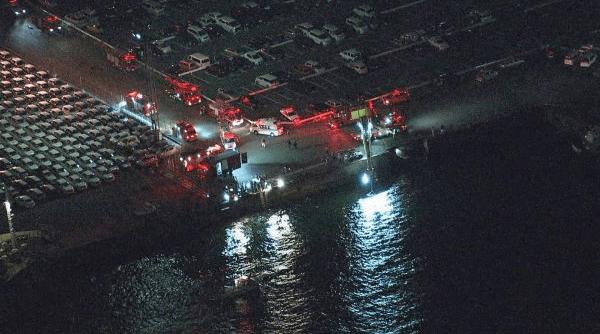 金城ふ頭で名古屋港に車転落する事故の現場画像