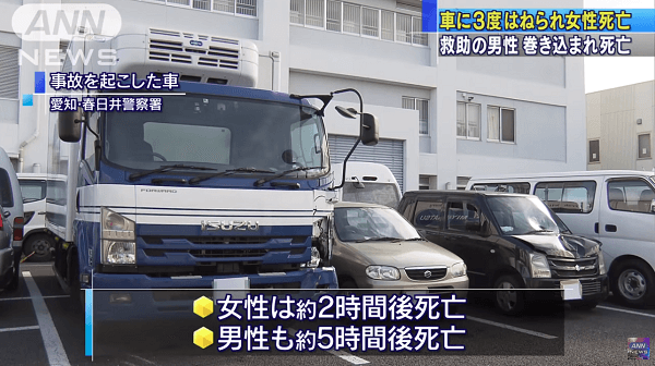 春日井市町田町で女性が3度はねられる死亡事故のニュースのキャプチャ画像