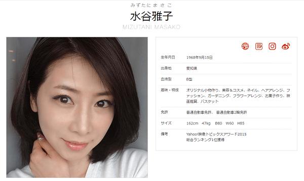 太田プロダクション所属の水谷雅子さんのプロフィール画像