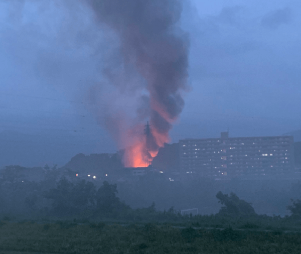 桐生市境野町で大規模火災の現場画像
