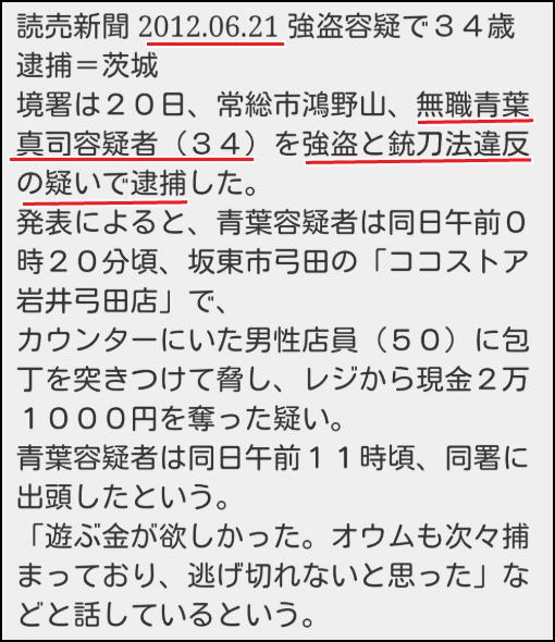 青葉真司が過去にコンビニ強盗で逮捕されたニュースの画像