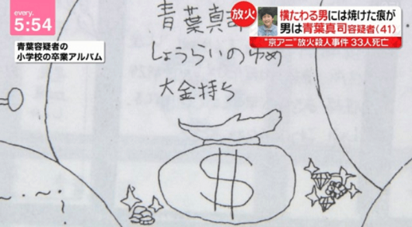 京アニ放火殺人事件の犯人の小学生時代の夢が書かれた画像