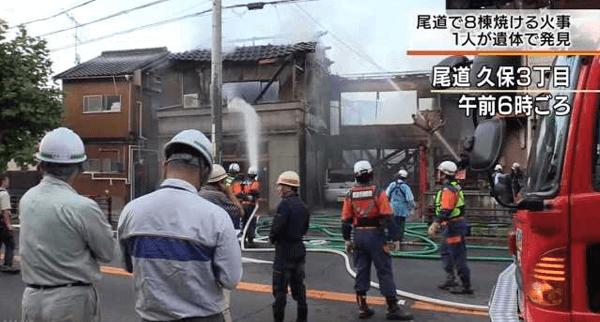尾道市久保の和菓子店で火事が起きた出火元の画像