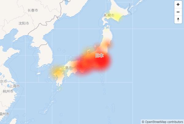 NTT東日本のOCNで通信障害が発生している日本地図の画像