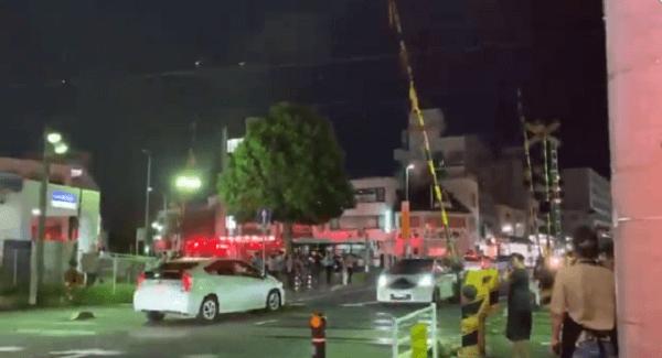 京成本線の実籾駅の人身事故で緊急車両が集結している動画のキャプチャ画像