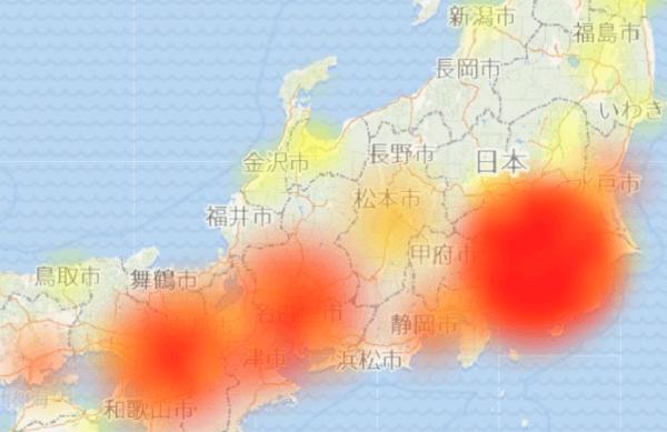 ドコモメールで通信エラーが発生している地図の画像