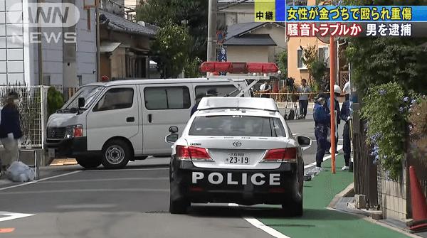 豊中市熊野町で金づちで女性を殴る殺人未遂事件のニュースのキャプチャ画像