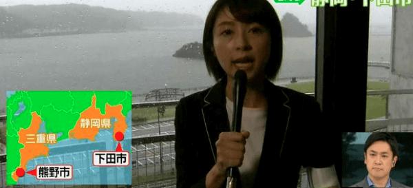 静岡県下田市内のホテルから日テレが中継している画像