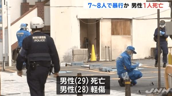 横須賀市若松町の繁華街で集団リンチ事件のニュースのキャプチャ画像