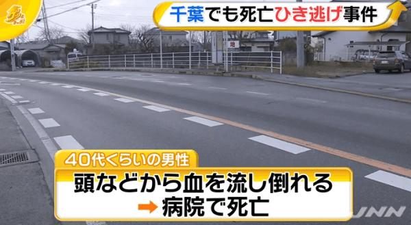 千葉市中央区生実町でひき逃げ事件のニュースのキャプチャ画像
