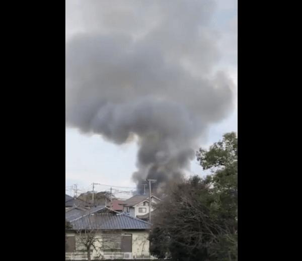 佐賀市伊勢町で火事が起きている動画のキャプチャ画像