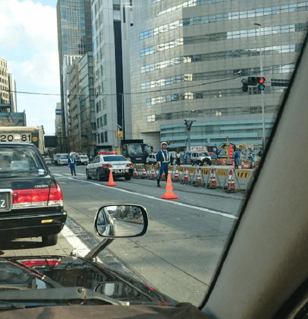 虎ノ門の交差点で小学生が死亡した事故現場の画像