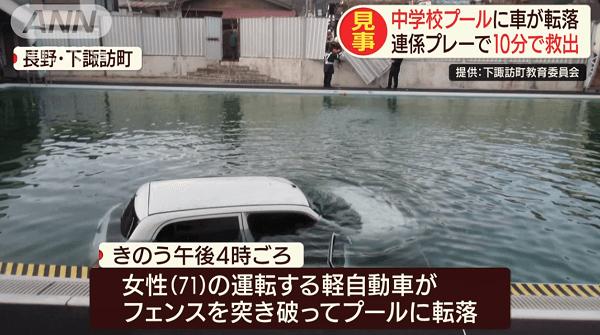 諏訪中学校のプールに高齢女性の車が転落する事故のニュースのキャプチャ画像