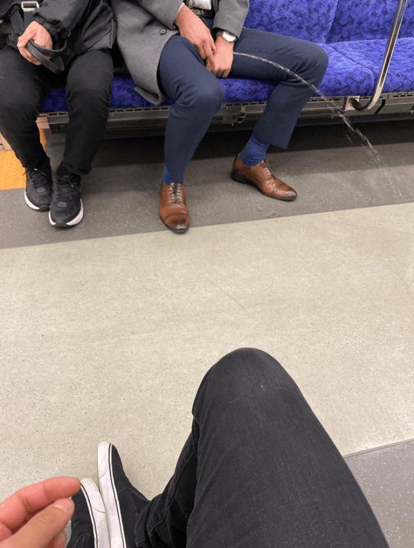 東武日光線で男性が放尿している画像
