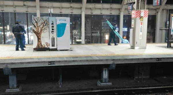 中央線の国立駅の人身事故の画像