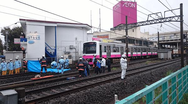 新京成線の高根木戸駅付近で人身事故が起きた現場の画像