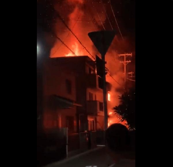 吹田市南清和園町で火事の動画のキャプチャ画像
