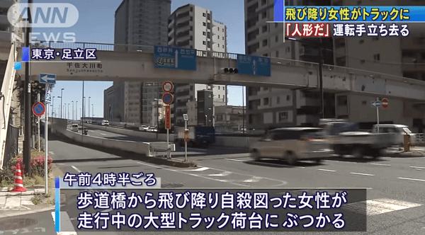 足立区の歩道橋で女性が飛び降り自殺を図ったニュースのキャプチャ画像