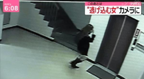中川真理紗容疑者が逃げ込んだマンションの防犯映像の画像