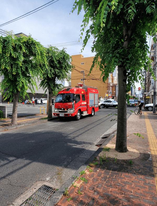 岡山市北区田町で発砲事件が起きた現場の画像