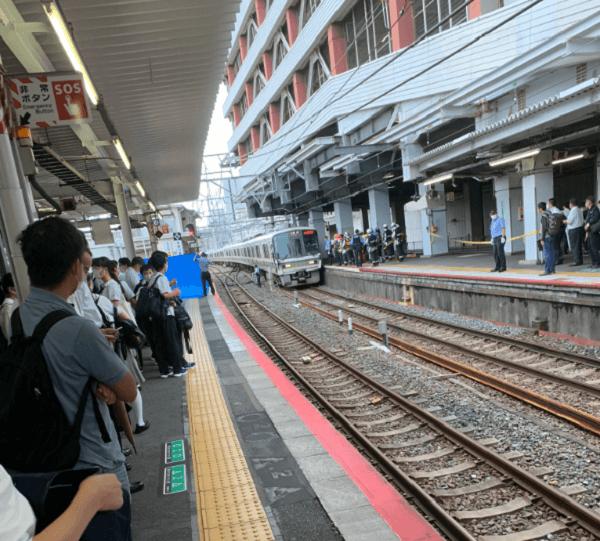 天王寺駅の飛び込み自殺の人身事故現場の画像