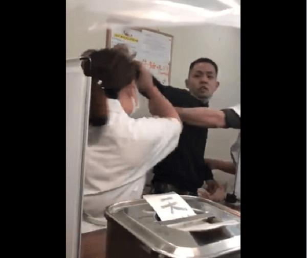 新橋のうどん店の暴行動画のキャプチャ画像