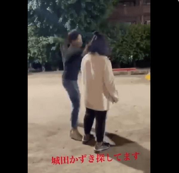 愛知県東海市の城田かずきが女子中学生に暴行する動画のキャプチャ画像