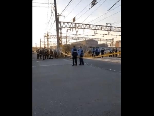 鹿児島本線の西小倉-九州工大前間の人身事故の現場画像